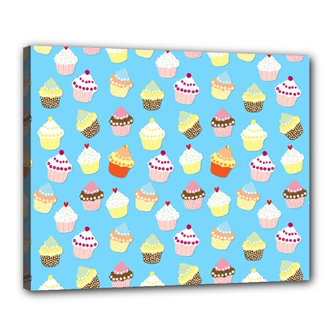 Pale Pastel Blue Cup Cakes Canvas 20  X 16  by PodArtist