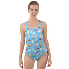 Pale Pastel Blue Cup Cakes Cut Out Back One Piece Swimsuit