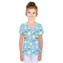 Pale Pastel Blue Cup Cakes Kids  One Piece Tee by PodArtist