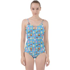 Pale Pastel Blue Cup Cakes Cut Out Top Tankini Set