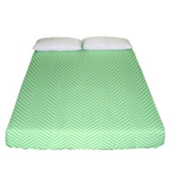 Classic Mint Green & White Herringbone Pattern Fitted Sheet (queen Size) by PodArtist