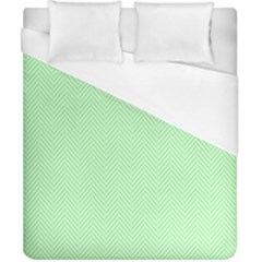 Classic Mint Green & White Herringbone Pattern Duvet Cover (california King Size) by PodArtist