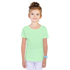 Classic Mint Green & White Herringbone Pattern Kids  One Piece Tee