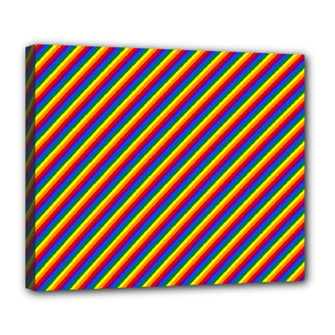 Gay Pride Flag Candy Cane Diagonal Stripe Deluxe Canvas 24  X 20   by PodArtist