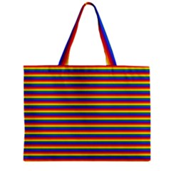 Horizontal Gay Pride Rainbow Flag Pin Stripes Mini Tote Bag by PodArtist