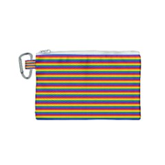 Horizontal Gay Pride Rainbow Flag Pin Stripes Canvas Cosmetic Bag (small) by PodArtist