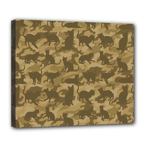 Operation Desert Cat Camouflage Catmouflage Deluxe Canvas 24  X 20   by PodArtist