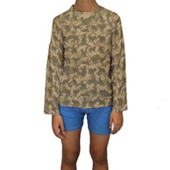Operation Desert Cat Camouflage Catmouflage Kids  Long Sleeve Swimwear