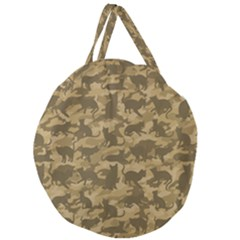 Operation Desert Cat Camouflage Catmouflage Giant Round Zipper Tote by PodArtist