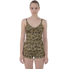 Operation Desert Cat Camouflage Catmouflage Tie Front Two Piece Tankini