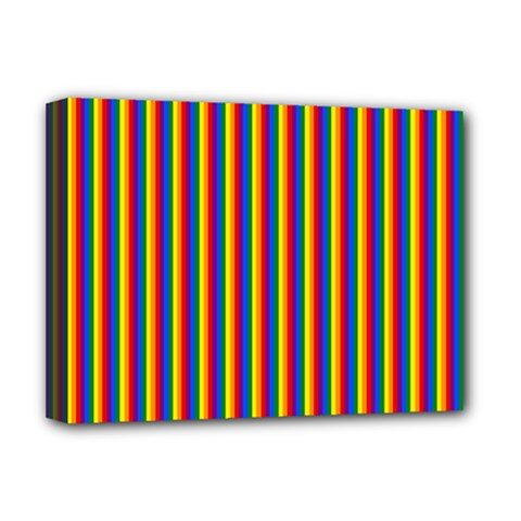 Vertical Gay Pride Rainbow Flag Pin Stripes Deluxe Canvas 16  X 12   by PodArtist