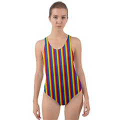 Vertical Gay Pride Rainbow Flag Pin Stripes Cut-out Back One Piece Swimsuit by PodArtist