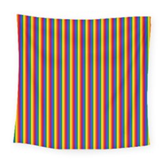 Vertical Gay Pride Rainbow Flag Pin Stripes Square Tapestry (large) by PodArtist