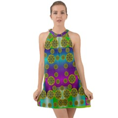 Celtic Mosaic With Wonderful Flowers Halter Tie Back Chiffon Dress by pepitasart