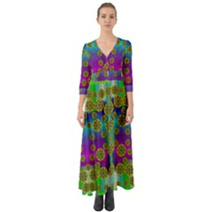 Celtic Mosaic With Wonderful Flowers Button Up Boho Maxi Dress by pepitasart