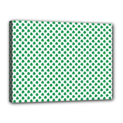 Green Shamrock Clover On White St  Patrick s Day Canvas 16  X 12  by PodArtist