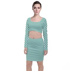 Green Shamrock Clover On White St  Patrick s Day Long Sleeve Crop Top & Bodycon Skirt Set by PodArtist