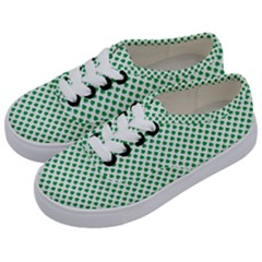 Green Shamrock Clover On White St  Patrick s Day Kids  Classic Low Top Sneakers by PodArtist