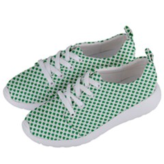 Green Shamrock Clover On White St  Patrick s Day Women s Lightweight Sports Shoes by PodArtist
