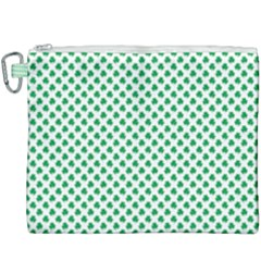 Green Shamrock Clover On White St  Patrick s Day Canvas Cosmetic Bag (xxxl) by PodArtist