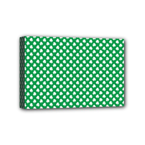 White Shamrocks On Green St  Patrick s Day Ireland Mini Canvas 6  X 4  by PodArtist