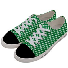 White Shamrocks On Green St  Patrick s Day Ireland Women s Low Top Canvas Sneakers by PodArtist