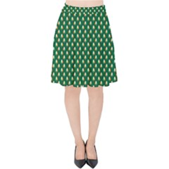 Irish Flag Green White Orange On Green St  Patrick s Day Ireland Velvet High Waist Skirt by PodArtist