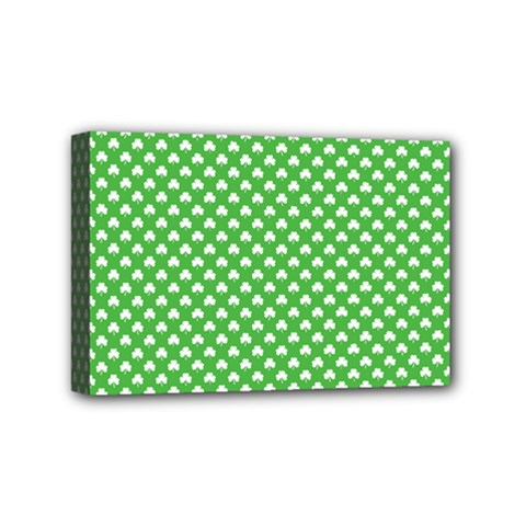 White Heart Shaped Clover On Green St  Patrick s Day Mini Canvas 6  X 4  by PodArtist