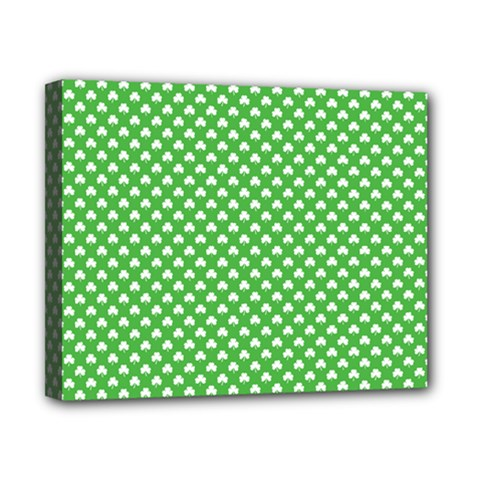 White Heart Shaped Clover On Green St  Patrick s Day Canvas 10  X 8  by PodArtist