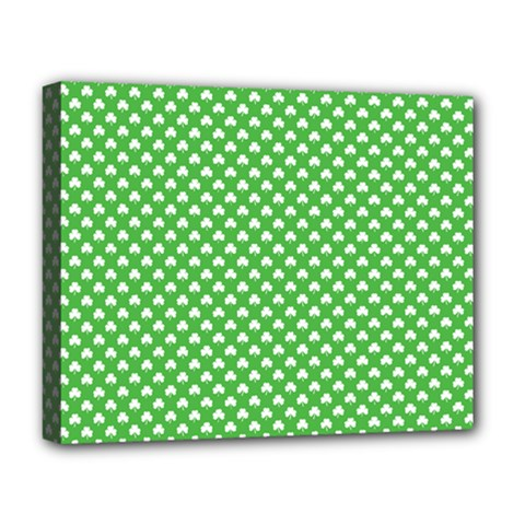 White Heart Shaped Clover On Green St  Patrick s Day Deluxe Canvas 20  X 16   by PodArtist