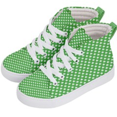 White Heart Shaped Clover On Green St  Patrick s Day Kid s Hi Top Skate Sneakers by PodArtist