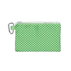 White Heart-shaped Clover On Green St  Patrick s Day Canvas Cosmetic Bag (small) by PodArtist