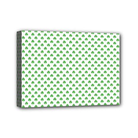 Green Heart Shaped Clover On White St  Patrick s Day Mini Canvas 7  X 5  by PodArtist