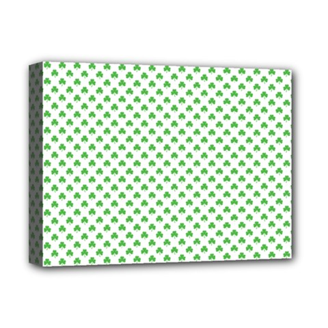Green Heart Shaped Clover On White St  Patrick s Day Deluxe Canvas 16  X 12   by PodArtist