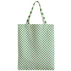 Green Heart Shaped Clover On White St  Patrick s Day Zipper Classic Tote Bag by PodArtist