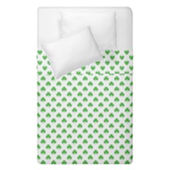 Green Heart Shaped Clover On White St  Patrick s Day Duvet Cover Double Side (single Size) by PodArtist