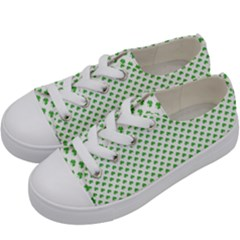 Green Heart Shaped Clover On White St  Patrick s Day Kids  Low Top Canvas Sneakers by PodArtist
