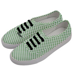Green Heart Shaped Clover On White St  Patrick s Day Men s Classic Low Top Sneakers by PodArtist