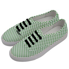 Green Heart Shaped Clover On White St  Patrick s Day Women s Classic Low Top Sneakers by PodArtist