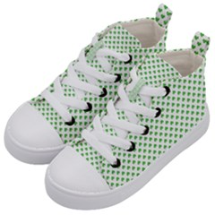 Green Heart Shaped Clover On White St  Patrick s Day Kid s Mid Top Canvas Sneakers by PodArtist