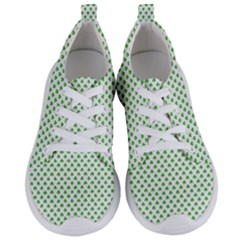 Green Heart Shaped Clover On White St  Patrick s Day Women s Lightweight Sports Shoes