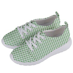 Green Heart Shaped Clover On White St  Patrick s Day Women s Lightweight Sports Shoes by PodArtist