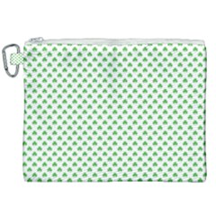 Green Heart Shaped Clover On White St  Patrick s Day Canvas Cosmetic Bag (xxl) by PodArtist