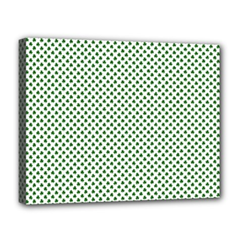 Shamrock 2 Tone Green On White St Patrick's Day Clover Canvas 14  X 11