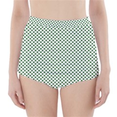Shamrock 2 Tone Green On White St Patrick's Day Clover High Waisted Bikini Bottoms by PodArtist