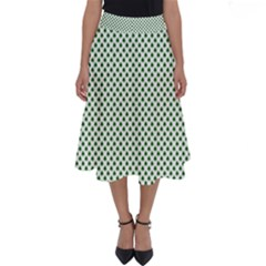 Shamrock 2 Tone Green On White St Patrick's Day Clover Perfect Length Midi Skirt by PodArtist