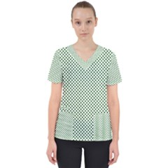Shamrock 2 Tone Green On White St Patrick's Day Clover Scrub Top by PodArtist