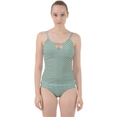 Shamrock 2 Tone Green On White St Patrick's Day Clover Cut Out Top Tankini Set