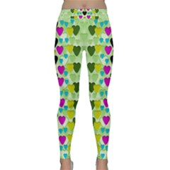 Summer Time In Lovely Hearts Classic Yoga Leggings by pepitasart