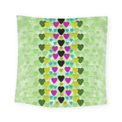 Summer Time In Lovely Hearts Square Tapestry (small) by pepitasart